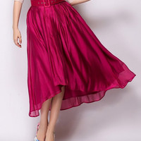 Vintage Style Wine Red Ankle-Lenght Skirt
