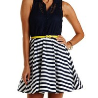 Navy Combo Belted Crochet & Striped Skater Dress by Charlotte Russe