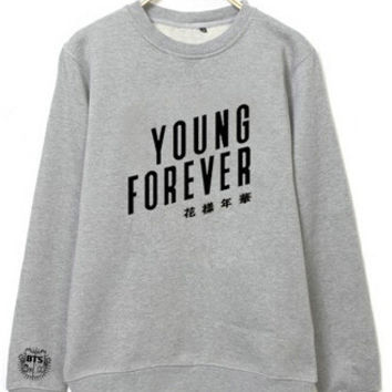 Kpop bts bangtan boys young forever album printing o neck sweatshirt plus size unisex pullover hoodies fashion men women moletom
