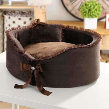 New Fashionable And Elegant Design Dog Beds For Small Dogs Winter Warm Pet Dog Pad House Mat Hot Sales Lace Send Pillows