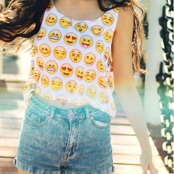 Smiley Emoji Printed Sleeveless Tank Top