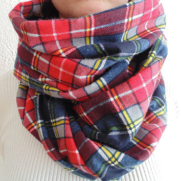 Red Plaid Scarf, Winter Scarf, Womens Scarf, Mens Scarf, Fall Scarf, Plaid Infinity Scarf, Flannel Scarf, Christmas Gift, Oversized