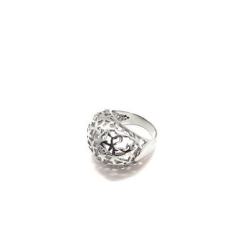 Stainless Steel Floral Cutout Cocktail Ring
