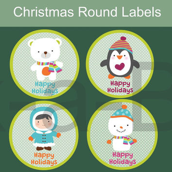 Printable  Christmas Tags / Christmas gift tags / Christmas Labels / Round Labels Cupcake Toppers Christmas Happy Holidays
