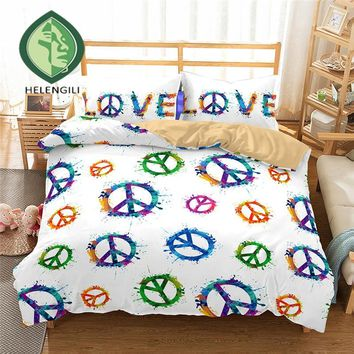 HELENGILI 3D Bedding Set Hippie Print Duvet cover set lifelike bedclothes with pillowcase bed set home Textiles #2-04