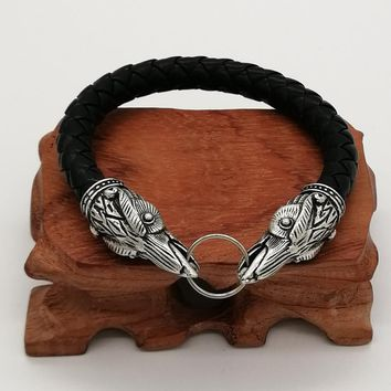 Viking Raven Leather Bracelet Pagan Bangle Men Jewelry Wristband Friend Gift Cuff