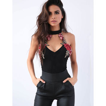 HOT Fashion Womens Clothing Sleeveless Tanks Tops Womens Clothes Halterneck Sexy Tops Embroidery Floral Female Black Tanks Tops