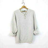 Heather Gray Cotton Knit Boyfriend Sweater 90s Open Slouchy Pullover Henley Sweater Shirt UNISEX size Medium