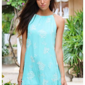 Turquoise halter neck dress with embroidered floral detail | Kourtney | escloset.com