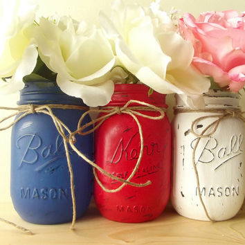 Red, White and Blue, Hand Painted Mason Jars - Three, Rustic - Style Painted Mason Jars