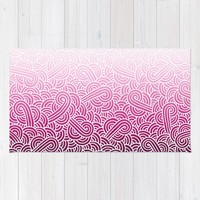Ombre pink and white swirls zentangle Rug by Savousepate