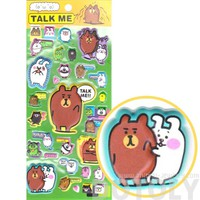 Funny Brown Bear and Bunnies Animal Shaped Super Spongy Stickers for Scrapbooking