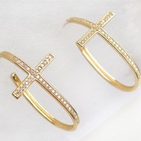 14K Gold Vermeil Sideways Cross Hoop Earrings