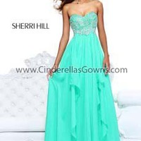 Designer Prom Dresses|Evening Dresses|Sherri Hill|Yellow|Coral|Light Blue|Lilac|Nude|Green|Pink|3874|2013