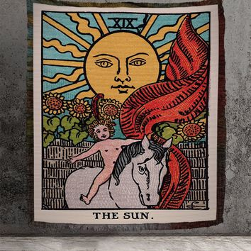 Large Woven Tapestry - The Sun Tarot Card Tapestry - Rider Waite Deck - Cotton