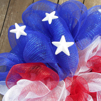 Patriotic Flag-Red White and Blue Flag-American Flag-Memorial Day Wreath-Fourth of July Wreath-Deco Mesh Wreath-Mesh Wreath-Veteran Wreath