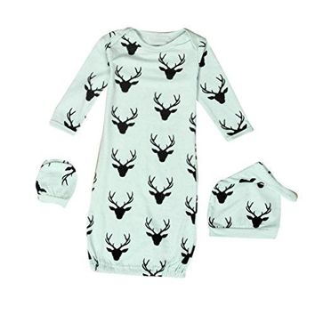 SunWard Christmas 1Set Newborn Baby XMAS Reindeer Gown Hat No Scratch Mittens 3Pcs Outfits Clothes (S, Green)