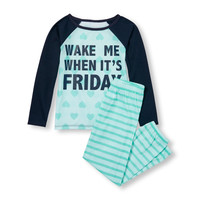Girls Long Raglan Sleeve 'Wake Me When It's Friday' Graphic Heart Print Top And Striped Pants PJ Set | The Children's Place