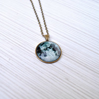 Full moon Necklace - Moon pendant - Space galaxy jewelry - Birth moon necklace - Grey moon necklace - Glass dome pendant - Brass necklace