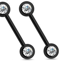 Titanium IP Double Cz Nipple Bars Barbells Rings - 14G 316L Stainless Steel - Sold as a Pair (Black)