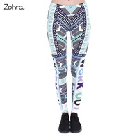 Zohra 2017 New Fashion Fitness Legging Work Out Aztec Mint Printing Bottoms Sexy High Waist Leggings Women Pants