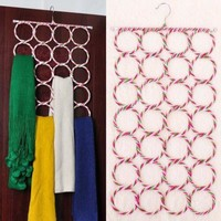 Hot 28 Ring Slots Hole Design Scarf Belt Tie Hanger Closet Organizer Holder Hook