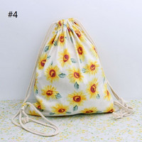 Beach Bag White Yellow Sunflowers