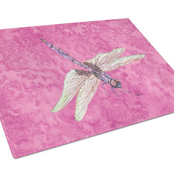 Dragonfly on Pink Glass Cutting Board Large