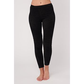 Probably Not Faux Suede Moto Leggings (Black)