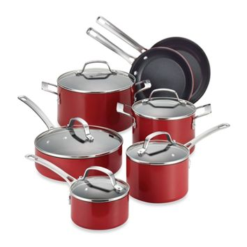 Circulon® Genesis™ Aluminum Nonstick 12-Piece Cookware Set and Open Stock in Red