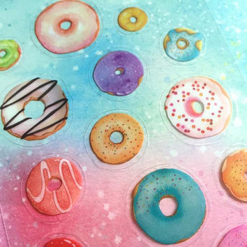Donut sticker colorful doughnut sticker sweet yummy bread Cake party baking planner sticker colorful bread party icon decor kids chef gift