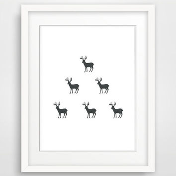 Black and White Wall Art, Printable Nursery Art,  Deer Wall Art, Printable Deer Print, Minimalist Scandinavian Christmas Wall Decor Print