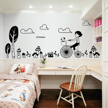 In  the new child to ride a bicycle to stick on the wall wall mobile household wall stick children room wall SM6