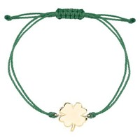 Gold Plated over Sterling Silver Bracelet Green Cord Clover - Gold/Green