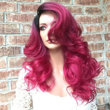 Fuschia Ombré Human Hair Blend Multi Parting lace front wig 20' 417175 ON SALE