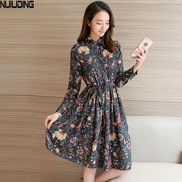 NIJIUDING Floral A-Line Dress Fashion Turn-down Collar Long Sleeve Women Vintage Spring Dresses Chiffon Dress