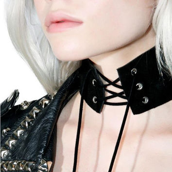 Anime Lace Up Choker Necklace  Gothic Vintage Wide Ribbon Leather Sexy Jewelery