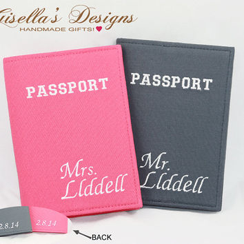 Mr. and Mrs. Passport Holder, Wedding Gift, honeymoon trip gift, Personalized Passport Cover Set, Custom made Passport Cover.