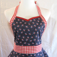 Patriotic Apron Womens Sweetheart 4th of July Red White Blue Glitter Flags Gingham Fit Flare Flirt Full Size