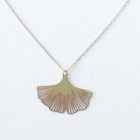 Ginkgo Biloba Leaf Blossom Necklace