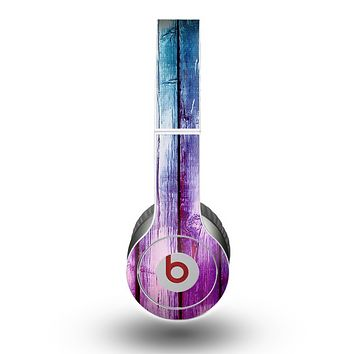 The Pink & Blue Dyed Wood Skin for the Beats by Dre Original Solo-Solo HD Headphones