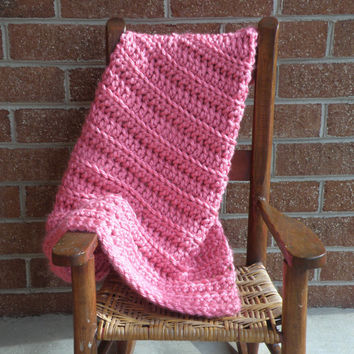 Ready To Ship New Pink Chunky Textured Crochet Baby Infant Girls Blanket Afghan