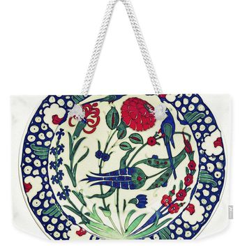 An Ottoman Iznik Style Floral Design Pottery Polychrome, By Adam Asar, No 1a - Weekender Tote Bag
