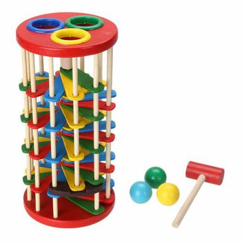 DCCKL72 Original Wooden Multicolour Ball Ladder Toy Infant Toy Children Educational Toys  knock Wooden Toy for Kids