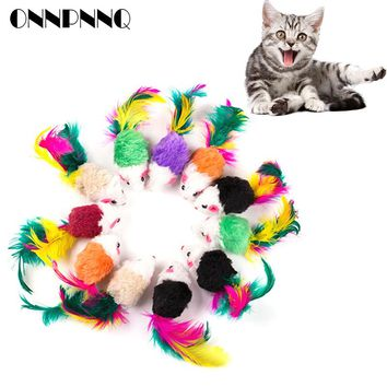 OnnPnnQ Mini Soft Fleece False Mouse Cat Toys Colorful Feather Funny Playing Training Toys For Cats Kitten Puppy Pet Supplies