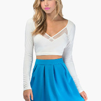 Long Sleeve V-Neck with Mesh Accent Cropped Top