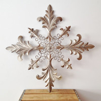 Metal Wall Hanging - Silver Scroll Cross Design - Shabby Chic Wall Decor