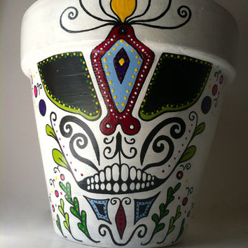 "Day of the Dead 4.5"" flower pot planter Sugar skull catrina Halloween decor succulent garden hand painted terra-cotta pot skeleton mask"