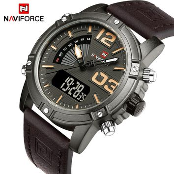 NAVIFORCE NF9095BCE Luxury Waterproof Military Sports Men's Quartz Digital Leather Watch