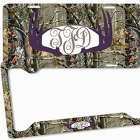 Dark Purple Brown Camo Antlers Monogram License Plate Frame Metal Car Tags Personalized